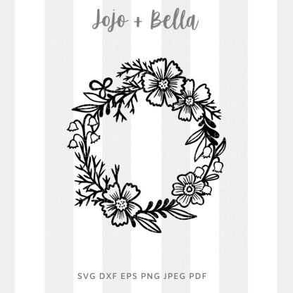 large flower wreath Svg - flowers/wreaths cut file for cricut and silhouette