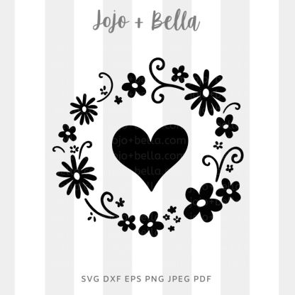 Heart flower wreath Svg - flowers/wreaths cut file for cricut and silhouette