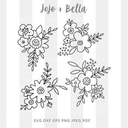 Hand drawn flowers Svg - flowers/wreaths cut file for cricut and silhouette