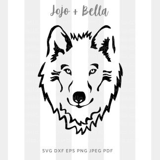 Wolf head svg - animal cut file for circuit and silhouette