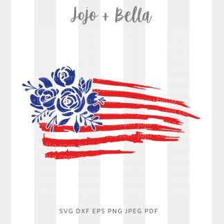 Floral american flag svg - patriotic cut file for Cricut and silhouette