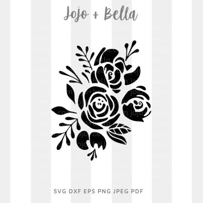 Rose flower silhouette Svg - flowers/wreaths cut file for cricut and silhouette