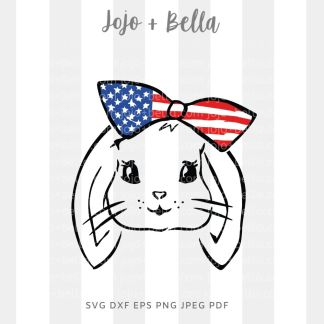 america bunny svg - 4th of July cut file for Cricut and silhouette