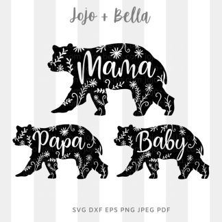 Family bEAR flowers Svg - Family cut file for cricut and silhouette