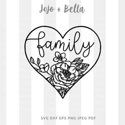 Family Heart Svg - Family cut file for cricut and silhouette