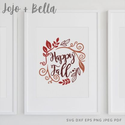 Happy Fall orange Svg - thanksgiving cut file for cricut and silhouette