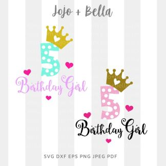 5th birthday svg - birthday party cut file for Cricut and Silhouette