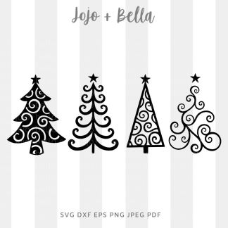 Swirly christmas tree bundle svg - Christmas cut file for cricut and silhouette