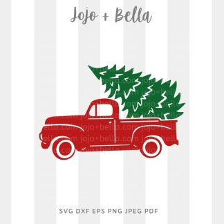christmas tree truck svg - christmas cut file for cricut and silhouette