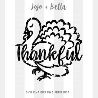 Thankful Turkey - grunge Svg - thanksgiving cut file for cricut and silhouette