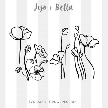 Poppies Svg Bundle Svg - flowers/wreaths cut file for cricut and silhouette
