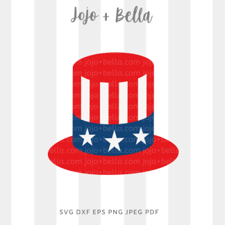 Uncle Sam hat svg - fourth of july cut file for Cricut and silhouette