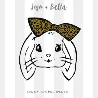 Easter bunny leopard bow SVG - cut file for cricut and silhouette