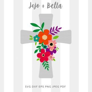 Floral Cross Svg cut file for Cricut and Silhouette