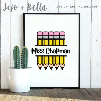 Pencil Monogram Svg file for cricut and silhouette crafting