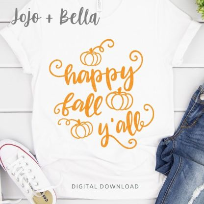 Free Happy Fall Y'all Svg Cut File for Cricut and Silhouette Crafting