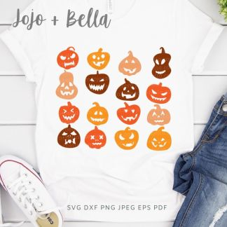 Free Pumpkin Faces Svg for Cricut and Silhouette