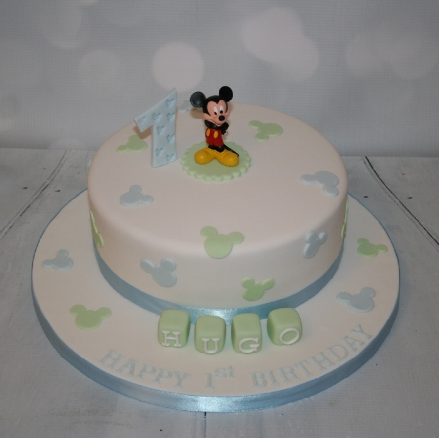 Blue Green Mickey Mouse 1st Birthday