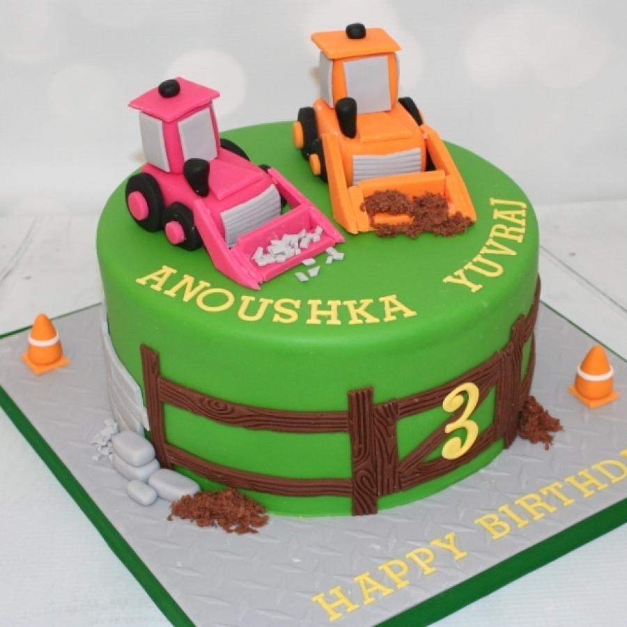 Pink Orange Diggers Cake