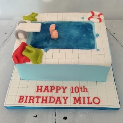 Diving Swimming Pool Cake
