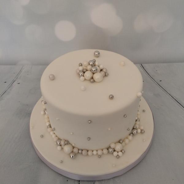 Small White Pearls Wedding Cake