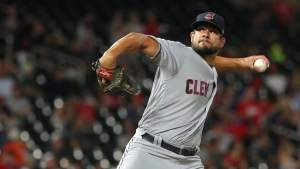 brad hand delivers a pitch for the Indians on the night of the MLB Trade Deadline during the 2018 mlb season