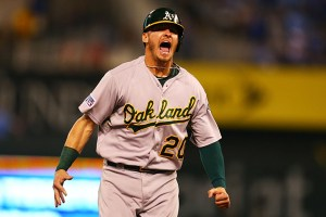 josh donaldson celebrates a home run with the oakland athletics in 2014
