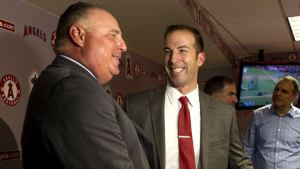 Billy Eppler jokes around with Mike Scioscia before another lost season for the halos