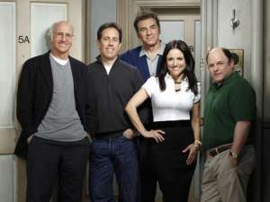 Larry David with the cast of Seinfeld during filming of an episode of Curb Your Enthusiasm in one of the golden ages of television