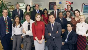 The cast of the office on nbc during filming of a christmas party episode