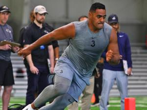 Jordan Mailata works out in front of NFL scouts