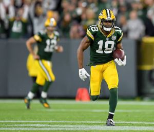 Randall Cobb rips off a long gain after catching a short pass from Aaron Rodgers Your Daily Fantasy Lineup in Week 2