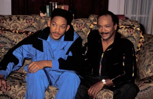 Will Smith sitting on the couch with Quincy Jones on the set of 'The Fresh Prince of Bel-Air'. Executive Producer Quincy Jones is one of the reasons how will smith became the fresh prince.