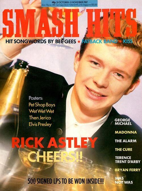 Rick Astley on the cover of Smash Hits in December of 1987