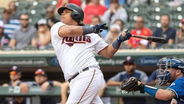Willians Astudillo The Turtle aka La Tortuga takes a meaty swing against the Kansas City Royals in the 2019 MLB season.