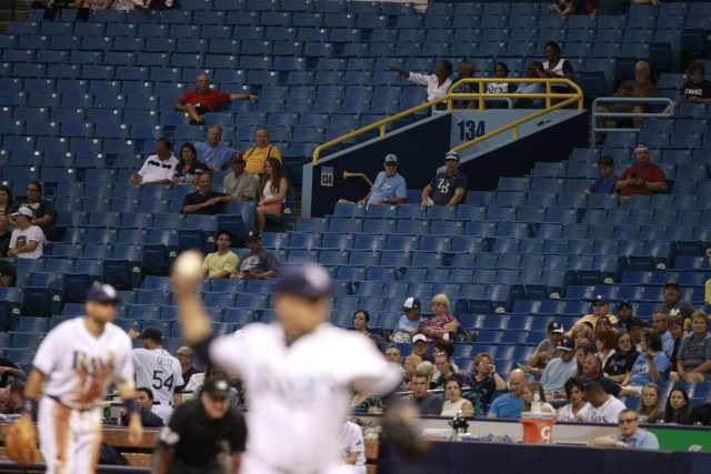 Empty seats became a regular sight in the Tampa Bay Rays' early days at Tropicana Field