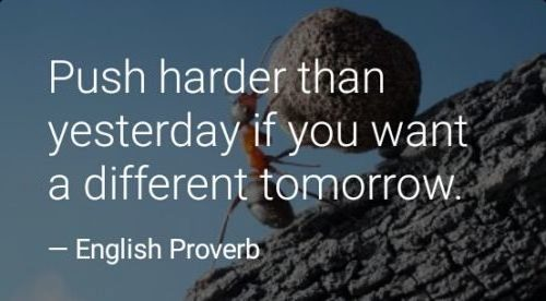 Work harder than yesterday