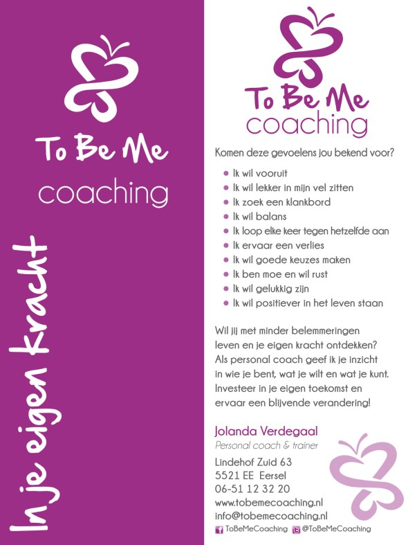 boekenlegger To Be Me Coaching april 15