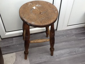 You can do some decoupage on old furniture such as this stool. Do as much or as little as you want with it.