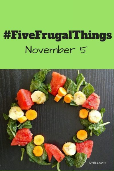 Frugal Things We've Done This Week- November 5