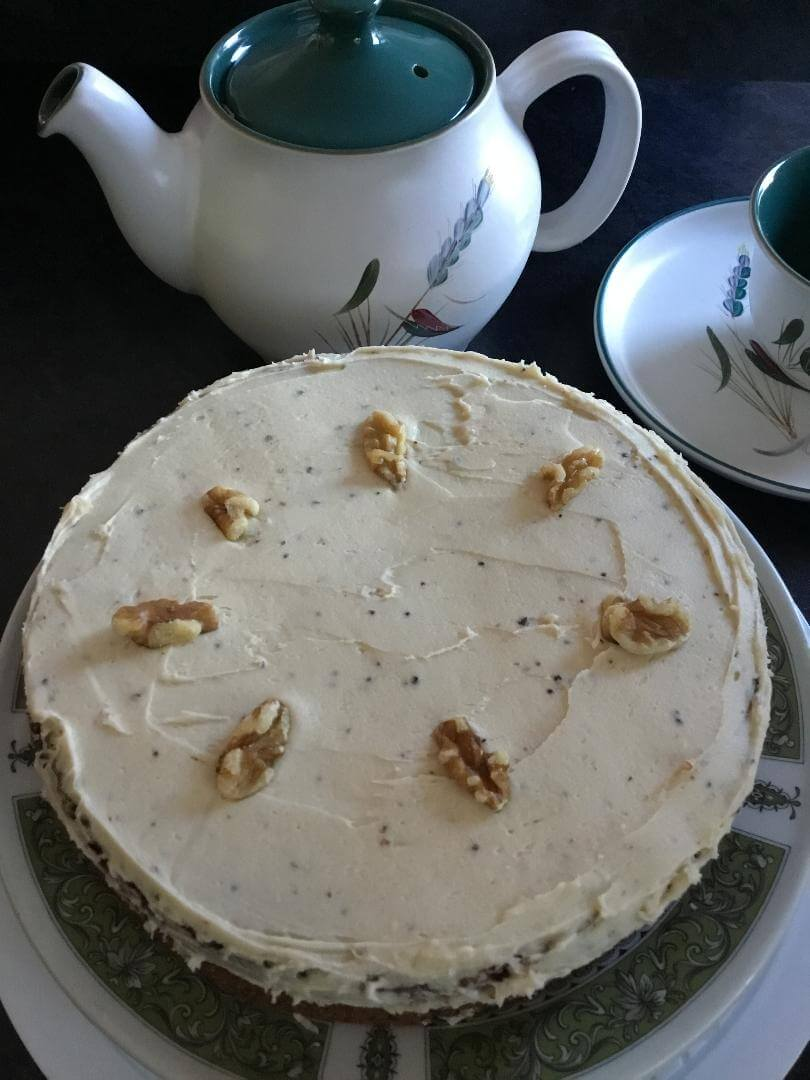 Here's a quick and easy Mothers' Day cake to make or for any other day when you want to make a cake with store cupboard ingredients. Coffee and Walnut, yum!