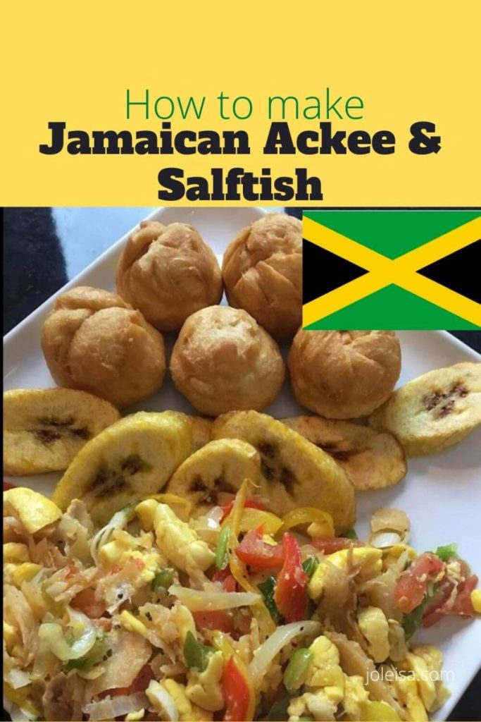 A plate of Jamaican Ackee and Saltfish with dumplings and fried plantains