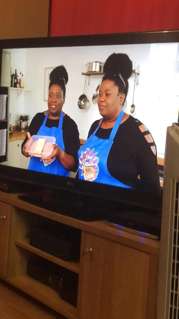 A picture of Jo and Leisa on a TV program