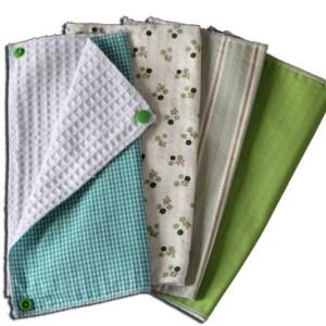 Lot essuies tout lavables, motifs verts