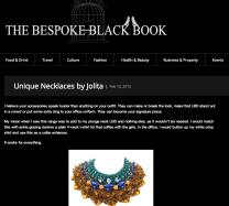 Jolita Jewellery feature in a luxury online magazine - The Bespoke Black Book