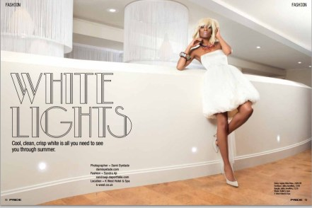 """Jolita feature in Pride Magazine June 2013 editorial """"White Lights"""". A model is wearing a white dress, Jolita Jewellery's dip-dyed Malaga statement necklace and colourful Flower and Skull statement bangle made with new and reclaimed components."""