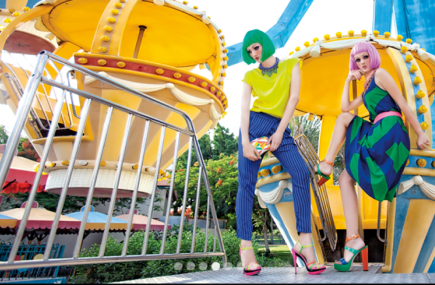 Jolita Jewellery feature in Cairo's Enigma magazine June 2013 issue - a model on the left is wearing a top by Alice Trixie, clutch by Rafe, sandals by Marino Rodriguez and a colourful Malaga necklace in a blue braid. A model on the right is wearing a dress by DKNY, sandals by Marino Rodriguez and a colourful Prague necklace in a triple dye silk braid and dipped in gold crystals.