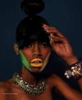 Neon Dreams editorial with Jolita Jewellery pieces published in FashizBlack magazine, November - December Issue 2013. A model is wearing Barcelona collar and Skull and Flower statement bangle by Jolita Jewellery.