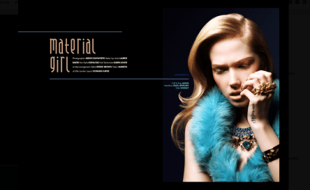 Material Girl editorial published in December issue of Submissions Magazine. The model is in a luxury Antwerp necklace, made by Jolita Jewellery in a double collar silk braid, embellished with an array of deconstructed jewels dipped in gold