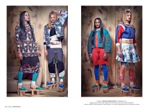 From Heart Of Glass editorial, published in Institute Magazine March 2014 - in Jolita Jewellery: RIGHT IMAGE: Christ (skirt) in Ida necklace, Julius (turquoise jacket) in Brussels necklace. LEFT IMAGE: Chris on the right in St.Tropez necklace, Julius (dress) in Turin and Paris statement necklaces